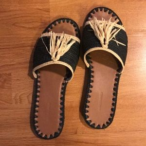 Carrie Forbes navy+straw sandals